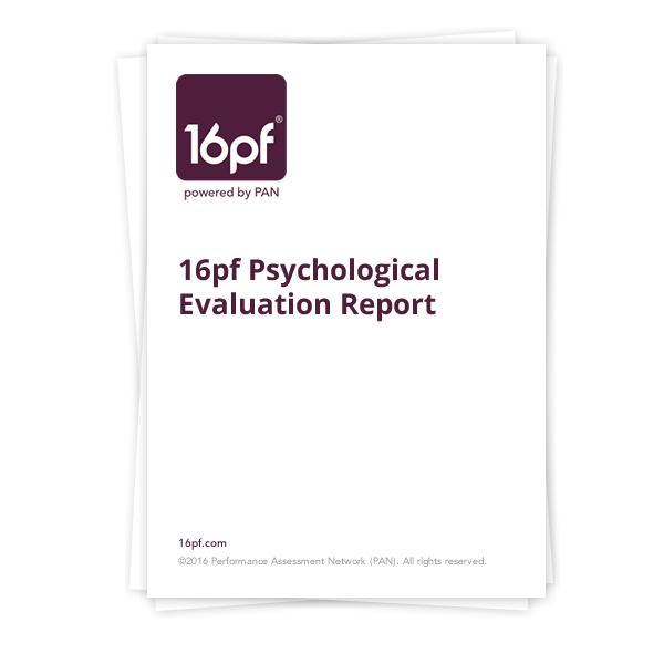 16pf Psychological Evaluation Report - 16pf.com